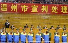 Vào ngày 25-05-2001, cảnh sát Trung Quốc canh gác một nhóm tù nhân ở ngoài một tòa án ở Bắc Kinh. Chiến dịch khởi xướng bởi nhà lãnh đạo chế độ cộng sản của Giang Trạch Dân. Ông yêu cầu cảnh sát tăng tốc độ bắt giữ, kết án và xử tử