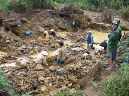 20 người mất tích liệu có bị bóc lột lao động ở hàng trăm bãi đào đãi vàng trái phép như thế này ở Phước Sơn? Ảnh: T.T.Thư