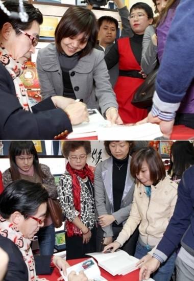 Diễn viên kỳ cựu của Tây Du Ký ký tặng sách cho công chúng. Ảnh: Pham Mi Ly.