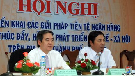 Ông Nguyễn Bá Thanh (phải) đang lãnh đạo Ban nội chính Trung ương Đảng