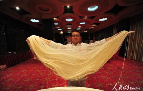 Fan Bo đang biểu diễn làm mỳ nghệ thuậtdù anhđượcđào tạochuyên ngành nhảy.