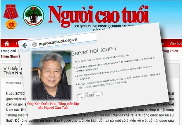 Tên miền nguoicaotuoi.org.vn cũng đã bị gỡ xuống