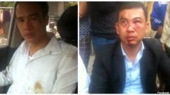 Luật sư Trần Thu Nam (phải) và Luật sư Lê Văn Luân sau khi bị hành hung. Vụ việc xảy ra hôm 3/11 khi luật sư Nam và Luân tới nhà bà Đỗ Thị Mai, mẹ của thiếu niên Đỗ Đăng Dư, người đã bị tử vong trong lúc bị giam giữ.