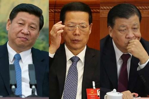 """3 thành viên Thường vụ Bộ chính trị đảng Cộng sản Trung Quốc đương nhiệm có thân nhân được """"hồ sơ Panama"""" đề cập là ông Tập Cận Bình, ông Trương Cao Lệ và ông Lưu Vân Sơn. Ảnh: The Straits Times."""
