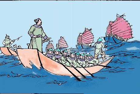 Vua Trần quyết định lên thuyền rút lui để bảo toàn lực lượng. (Ảnh từ violet.vn)