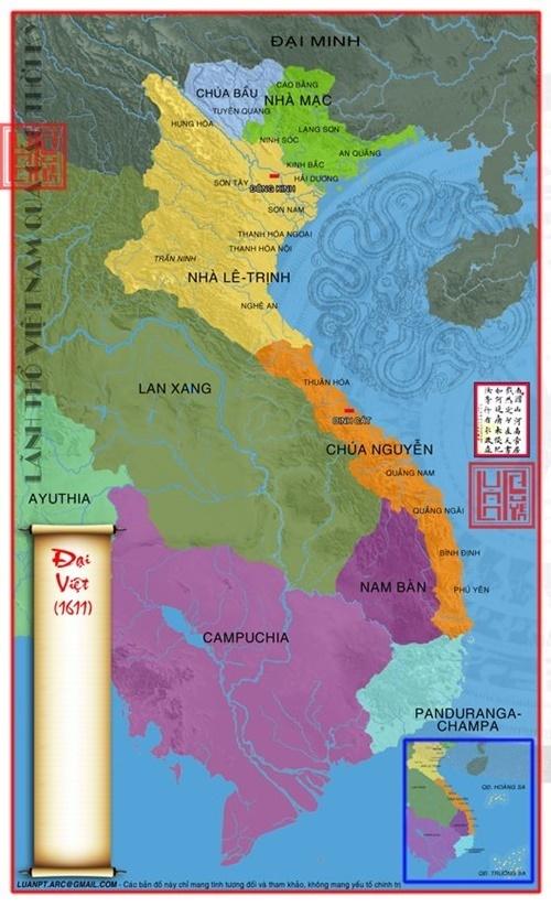 Khi chúa Nguyễn Hoàng mất, lãnh thổ Đại Việt kéo dài thêm đến cực nam Phú Yên. (Ảnh từ lichsunuocvietnam.com)