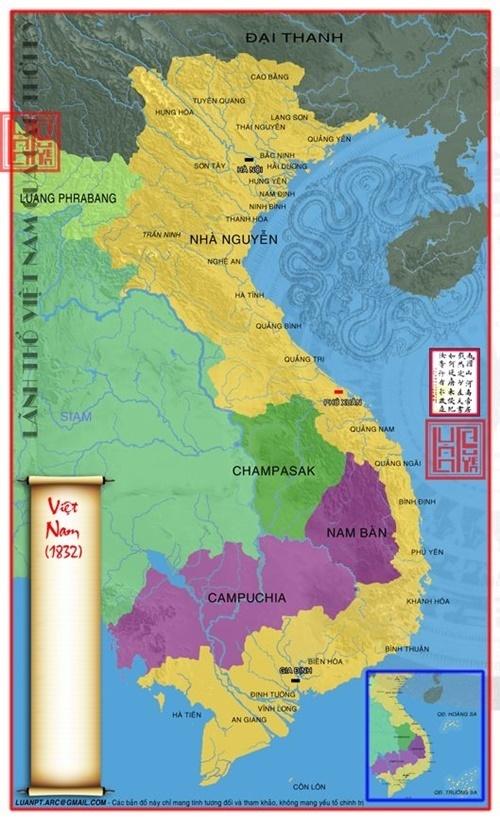 Bản đồ Việt Nam thời nhà Nguyễn sau khi sáp nhập vùng đất từ Lào. (Ảnh từ lichsunuocvietnam.com)