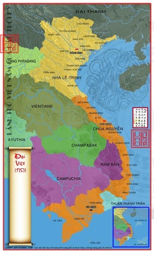 Bản đồ Đại Việt nam 1758. Ảnh từ lichsunuocvietnam.com)