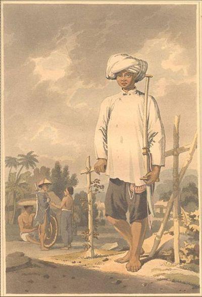 Chân dung người lính Tây Sơn năm 1793-Tranh của William Alexander ở Hội An. (Ảnh từ wikipedia.org)