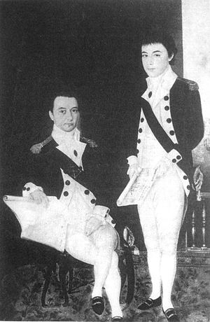 Jean-Marie Dayot (trái) và em trai Félix Dayot (phải). Đây là hai trong số những người Pháp tình nguyện giúp NguyễnVương từ đầu theo lời kêu gọi của Bá Đa Lộc. (Ảnh từ wikipedia.org)