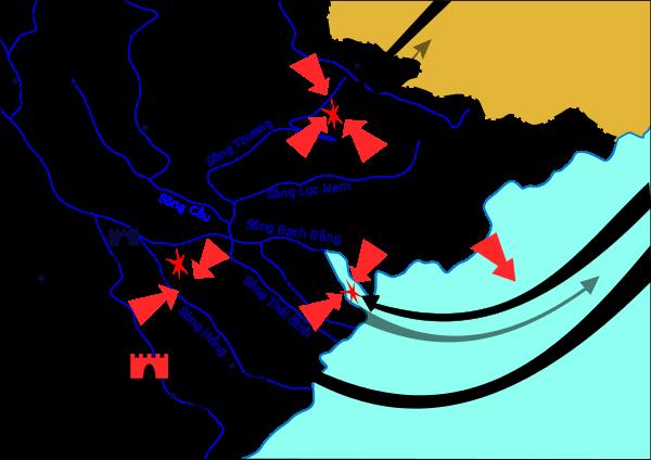 Bản đồ đường tiến quân của quân Tống. Ảnh từ wikipedia.org