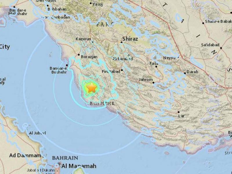 Vị trí tâm chấn động đất. (Ảnh: USGS)