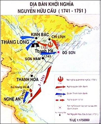 Bản đồ cuộc khởi nghĩa Nguyễn Hữu Cầu. (Ảnh từ thuvienlichsu.com)