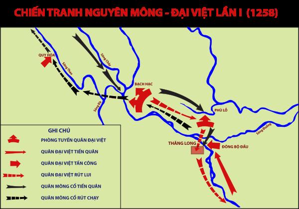 Bàn đồ cuộc chiến Mông Cổ – Đại Việt lần thứ 1 (Ảnh từ wikipedia.org)