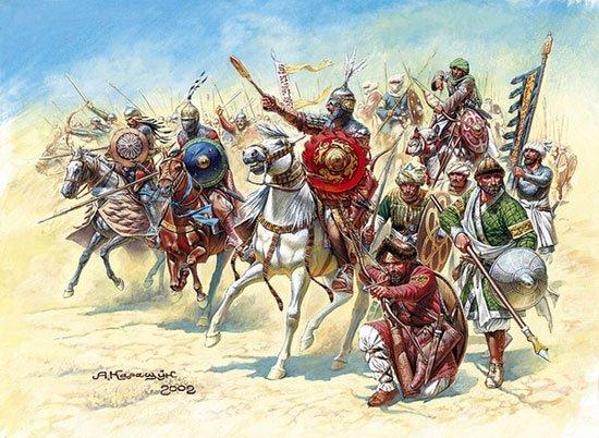 26.000 quân Saracen hùng hổ tiến về Jerusalem. (Tranh từ pinterest)