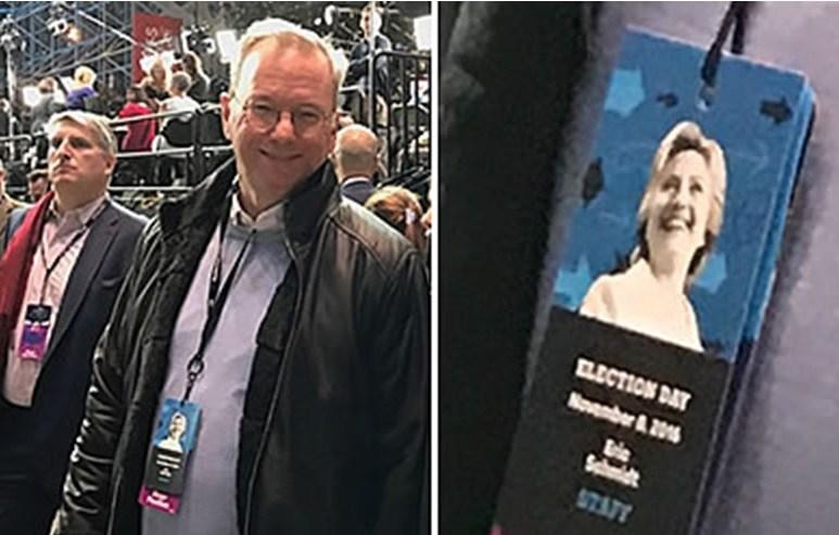 """Eric Schmidt đeo thẻ """"nhân viên"""" tại bữa tiệc đêm bầu cử Clinton. (Ảnh qua Guerilla Stock Trading)"""