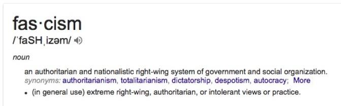 Định nghĩa về chủ nghĩa phát-xít trên google translate: Chủ nghĩa phát-xít là hệ thống chính phủ và tổ chức xã hội cánh hữu độc đoán và theo chủ nghĩa dân tộc. (Ảnh chụp màn hình)