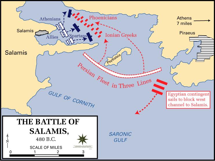 Các tàu Ba Tư dàn hàng chặn eo biển lại, rồi sau đó cùng tiến đánh tàu Hy Lạp. (Tranh từ Wikipedia)