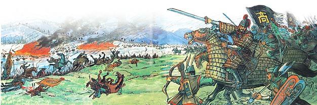 Phục binh của Cao Câu Ly tràn ra tấn công quân Tùy. (Tranh qua daum.net)