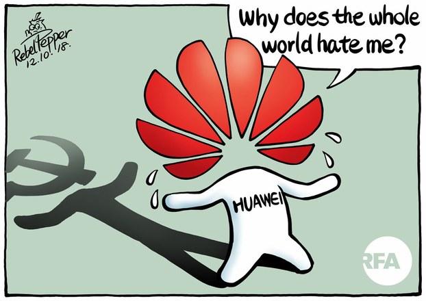 Why Does the Whole World Hate Me?'( Tại sao cả thế giới ghét tôi?) Hình biếm họa Huawei vẽ bởi đài RFA