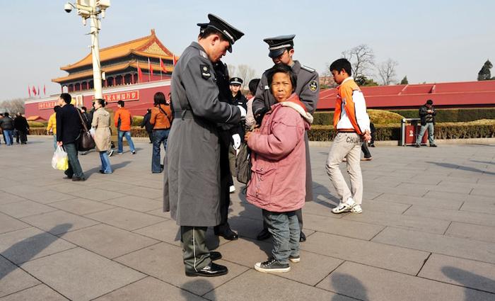 Kiểm tra an ninh trên quảng trường Thiên An Môn. (Ảnh: Shutterstock)