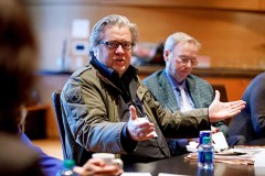 NEW YORK, NEW YORK - NOVEMBER 06: Steve Bannon speaks during a Taskforce session at 2019 New York Times Dealbook on November 06, 2019 in New York City. (Photo by Mike Cohen/Getty Images for The New York Times)