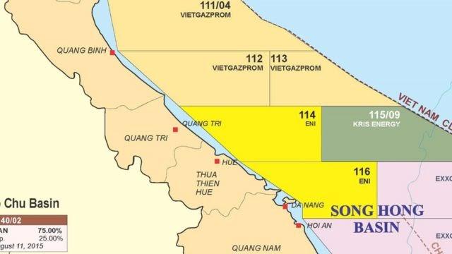 Vị trí Mỏ Kèn Bầu trong lô dầu khí 114 trên Bản đồ Dầu khí Việt Nam