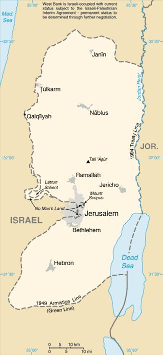 Bản đồ Bờ Tây. (Tranh: CIA/Wikipedia, Public Domain)