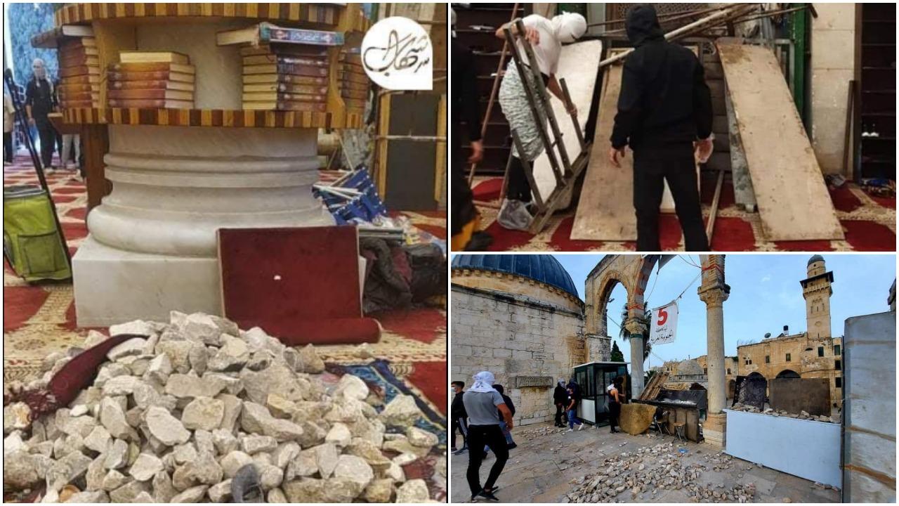 Những đống đá đã được người Palestina chất đống trong đền thờ Hồi giáo Al-Aqsa để tấn công cảnh sát Israel. (Ảnh chụp qua Facebook)